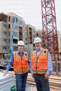 From left, Venture General Contracting partners Matt Parent and Jack Beaudoin on the 450 unit Liv Bel-Red apartment project in Bellevue they are building for Goodman Real Estate.