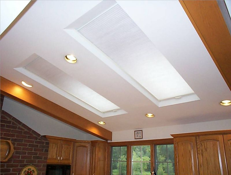 Cellular Skylight shades kitchen, open