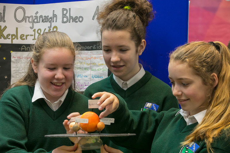 """01/05/2018. SciFest at WIT (Waterford Institute of Technology) at the Arena. Pictured are Kelly Mernin, Tara Tubbritt and Molly O'Shea from Ghaelcholaiste Phort Lairge with their project """"Is there life on Kepler 186F"""" Picture: Patrick Browne"""