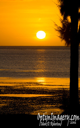 MARCH 13, 2016:  SUNSET ON BEACH ROAD WITH GREEN FLASH