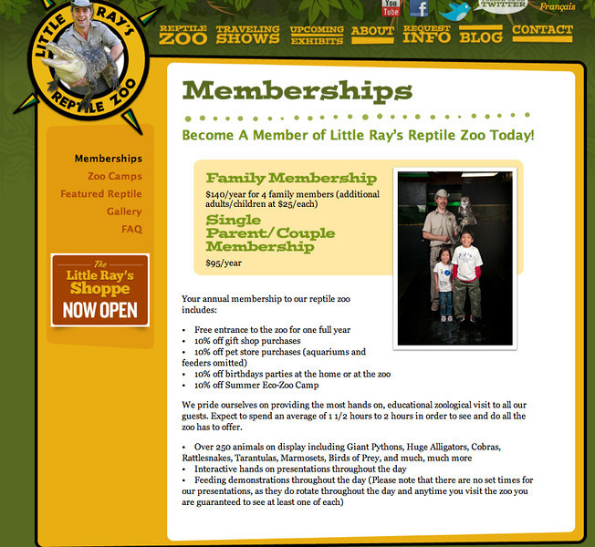 Item #4 One Year Family Membership Little Ray's Reptiles