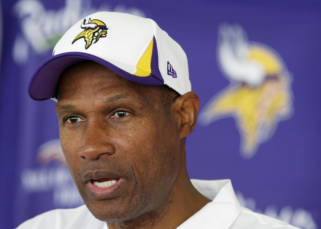 ". ""We get a chance to play football the way it�s played on Sundays,\"" said Vikings coach Leslie Frazier, about Monday\'s first practice in pads. \""That will be a good challenge for our players and give us a good chance to evaluate our players. We�re all excited about that.\""   (AP Photo/Charlie Neibergall)"