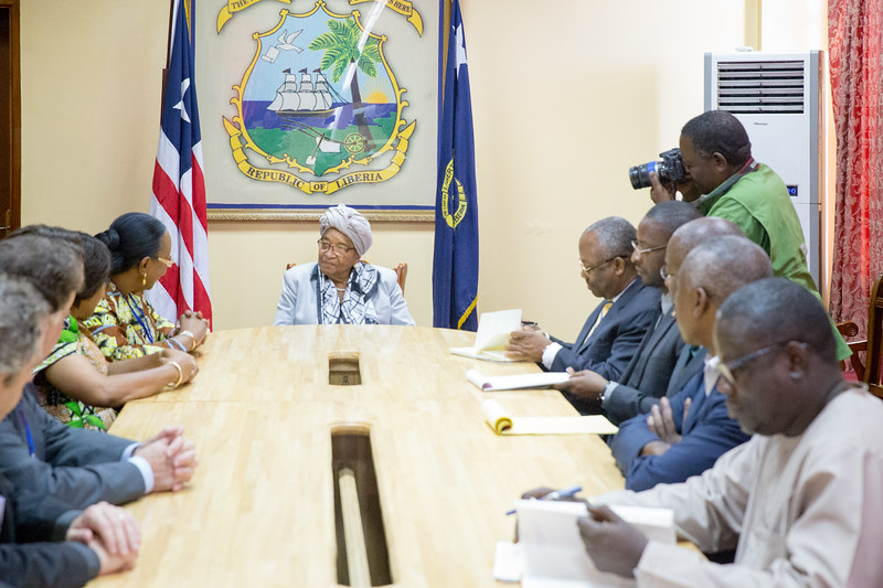Monrovia, Liberia October 12, 2017 -  The Carter Center leadership team with Presidential office staff meet with Liberian President Ellen Johnson Sirleaf.