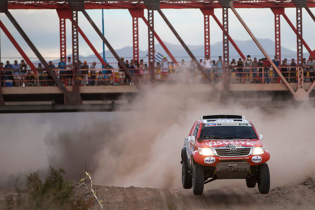 . Toyota driver Bernhard Ten Brinke of Netherlands and co-pilot Tom Colsoul of Beligum race during the third stage of the Dakar Rally 2015 between the cities of San Juan and Chilecito, Argentina, Tuesday, Jan. 6, 2015. The race will finish on Jan. 17, passing through Bolivia and Chile and returning to Argentina. (AP Photo/Felipe Dana)