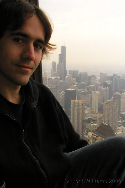 Trent in the John Hancock Centre, with the Sears Tower in the back ground.