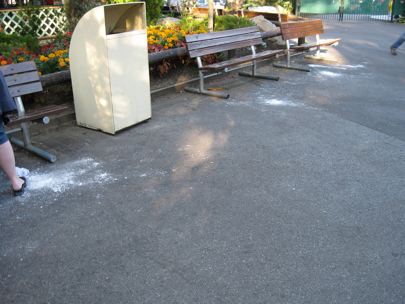 Powdered sugar from fried dough, littering the midway.