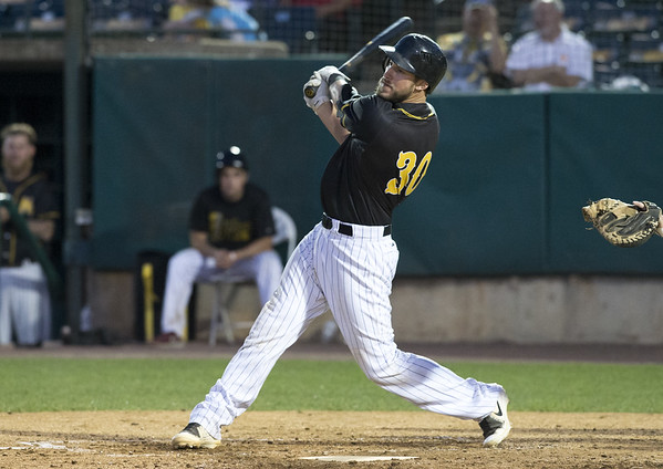 The New Britain Bees vs the High Point Rockers at New Britain Stadium on Thursday, August 15, 2019. Catcher Logan Moore (30). Wesley Bunnell | Staff