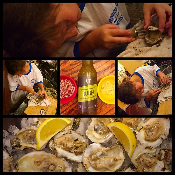 On the table tonite: oysters on the half shell ... but the best part is @kaylakat25 is learning to shuck them herself (a win for @windycitymomma and me!)