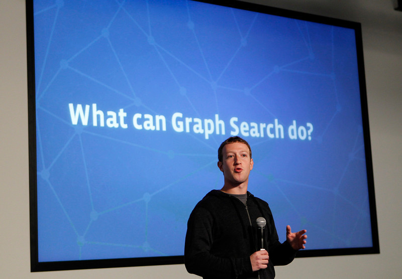 ". Facebook Chief Executive Mark Zuckerberg introduces a new feature called ""Graph Search\"" during a media event at the company\'s headquarters in Menlo Park, California January 15, 2013. REUTERS/Robert Galbraith"