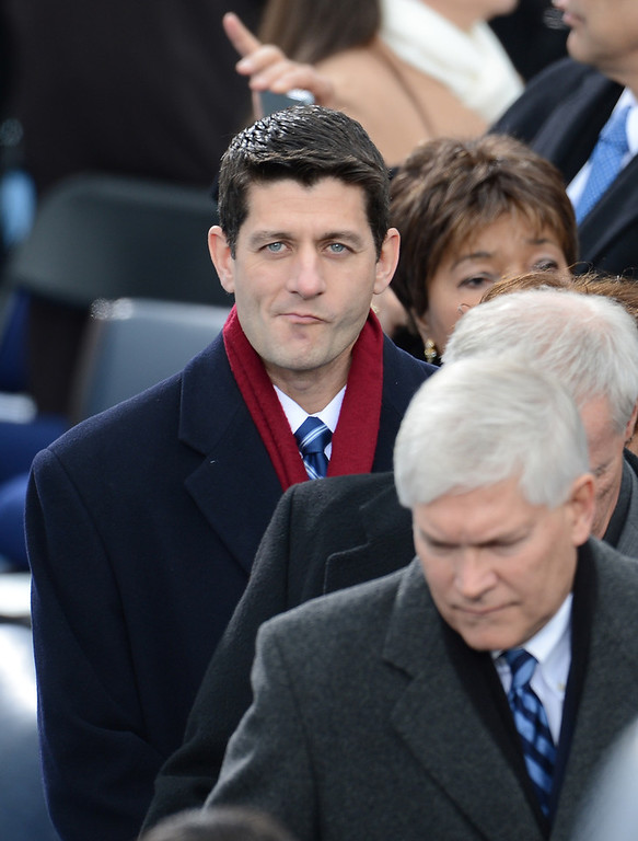 . Former Republican Vice Presidential candidate Paul Ryan arrives for the 57th Presidential Inauguration ceremonial swearing-in at the US Capitol on January 21, 2013 in Washington, DC.  EMMANUEL DUNAND/AFP/Getty Images