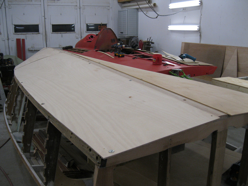 Rear starboard view of bottom plywood fit.
