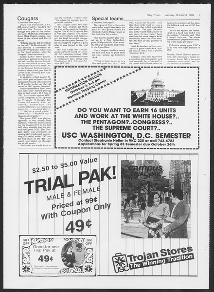 Daily Trojan, Vol. 97, No. 25, October 08, 1984
