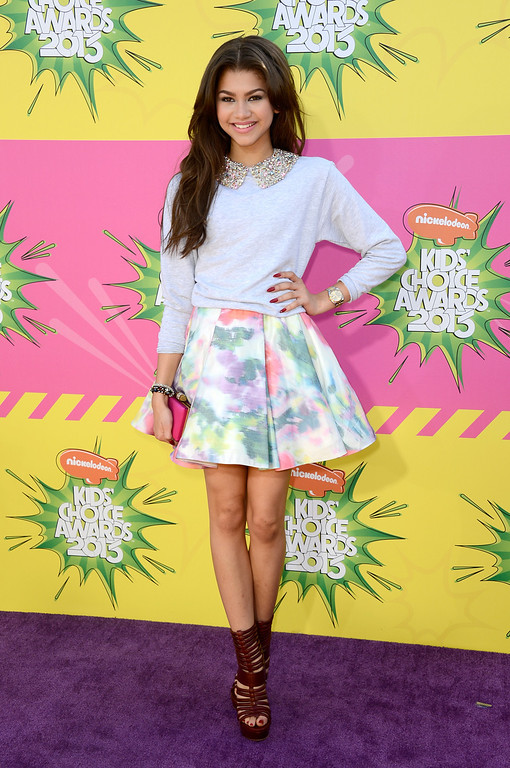 . LOS ANGELES, CA - MARCH 23:  Actress Zendaya Coleman arrives at Nickelodeon\'s 26th Annual Kids\' Choice Awards at USC Galen Center on March 23, 2013 in Los Angeles, California.  (Photo by Frazer Harrison/Getty Images)