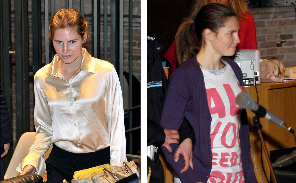 . A 2 image combo shows Amanda Knox entering the Perugia court in these May 21, 2011, left, and Feb. 14, 2009 file photos. Two years ago, as she waited to know whether she\'d be found guilty of murdering her British roommate, Amanda Knox was so confident she thought she\'d be flying home within hours. She never did. Still behind bars, still waiting for a verdict, this time by an appeals court, the American is a changed woman, family and friends say, more mature, more wary of people around her, increasingly anxious as the moment of truth approaches. The transformation is apparent from the outside. Gone is the Beatles sweater, the confident demeanor, the irreverent smile. Now 24, Knox is conservatively dressed, pale and thinner. (AP Photo/Stefano Medici/Files)