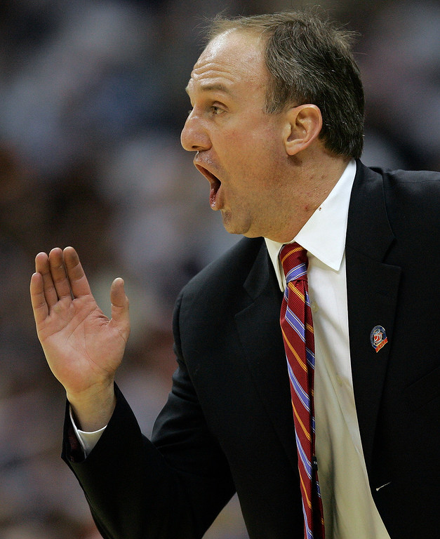 . Ohio State coach Thad Matta yells instructions to his players during their NCAA South Regional semifinal basketball game against Tennessee at the Alamodome in San Antonio, Thursday, March 22, 2007.  (AP Photo/David J. Phillip)