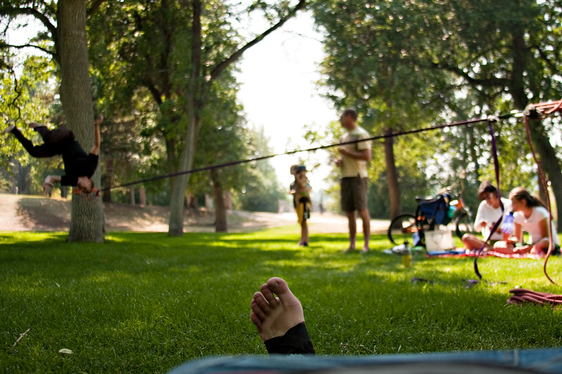 September 3, 2012. Day 241. Taking it easy on the ankle while John does tricks for the family.  Bozeman, Montana