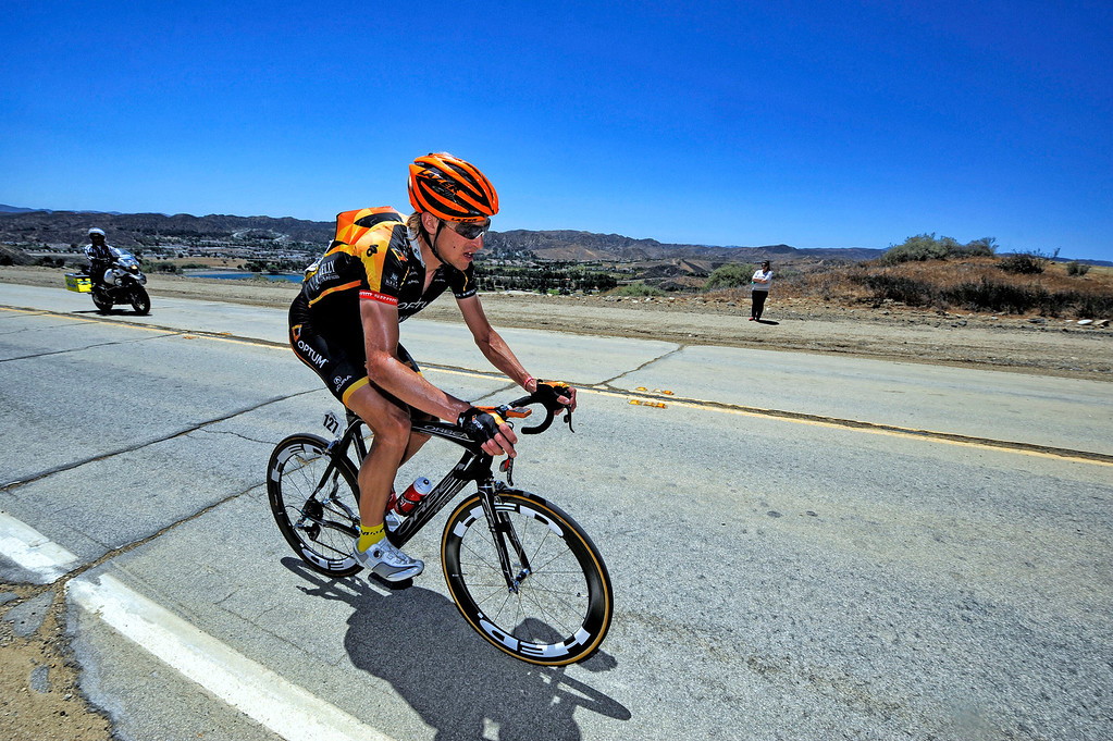 . Marsh Cooper #127 makes his way up Lake Hughes Rd in Castaic during Stage 3 from Palmdale to Santa Clarita of the Amgen Tour of California bicycle race Tuesday, May 14, 2013. (Hans Gutknecht/Los Angeles Daily News)