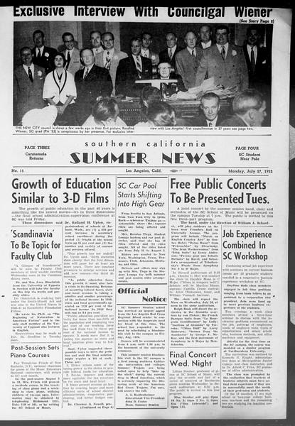 Summer News, Vol. 8, No. 11, July 27, 1953