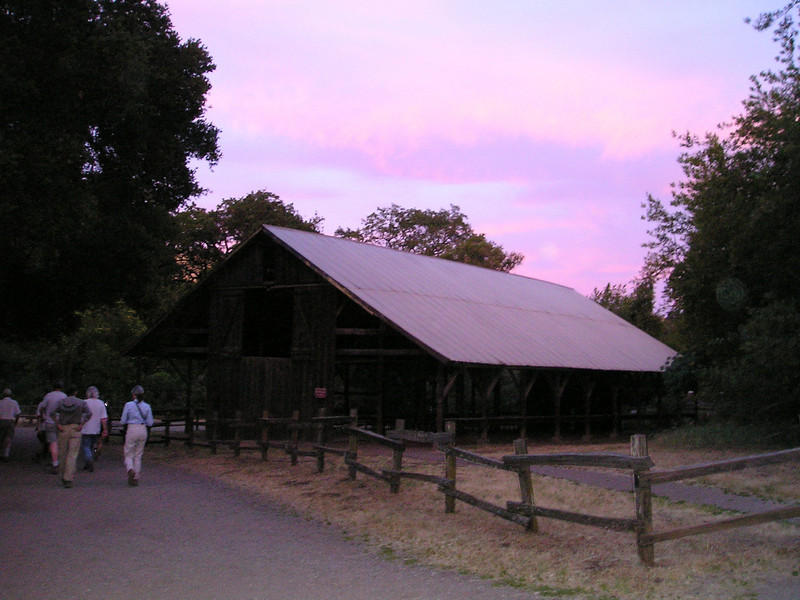 Gorgeous sunset over the barn near the end of our hike.