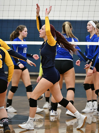 11/16/2019 Mike Orazzi | StaffrWoodstock Academy's Sierra Bedard (1) celebrates during the 2019 State Girls Volleyball Tournament Class L Quarterfinals at BEHS in Bristol Saturday. r