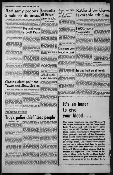 Daily Trojan, Vol. 34, No. 114, March 29, 1943