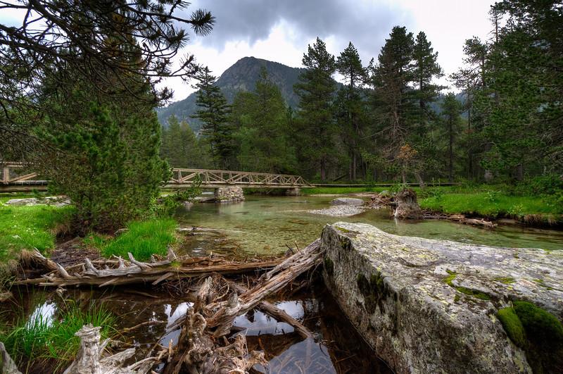Wooden bridge across a shallow stream in Vall de Boi, Spain