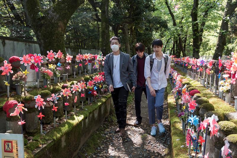Visitors at Unborn Children Garden, Zojoji Temple, Tokyo, Japan