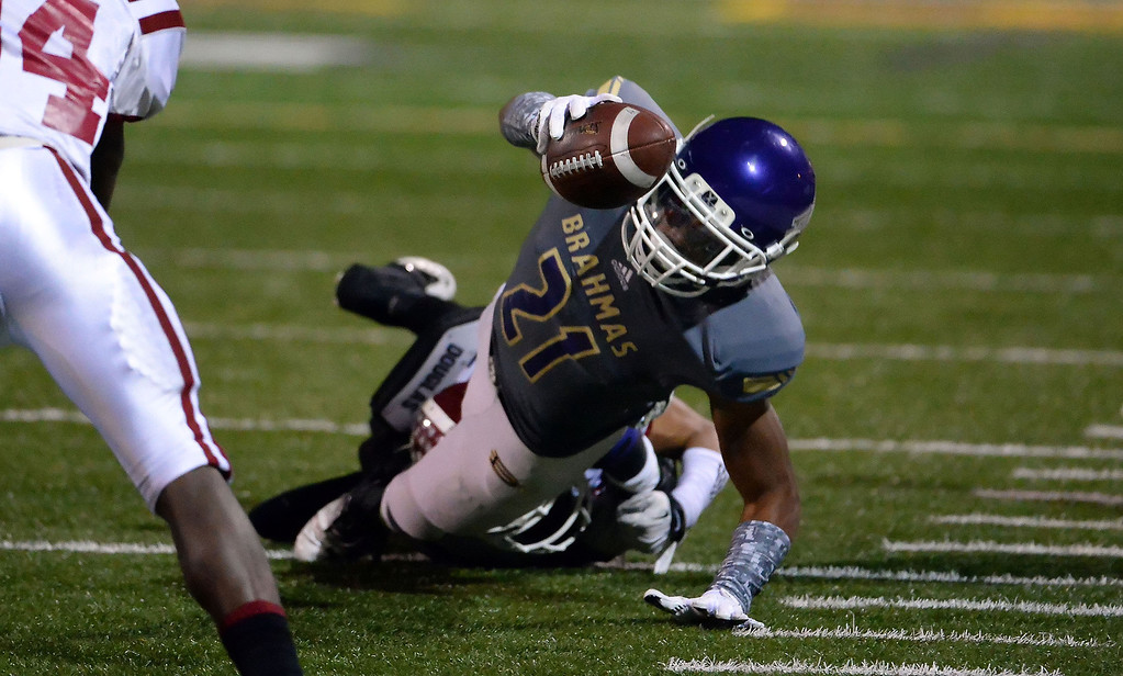 . Diamond Bar\'s Cordell Broadus dives for a first down against La Serna in the first half of a CIF-SS playoff football game at Diamond Bar High School in Diamond Bar, Calif., on Friday, Nov. 22, 2013.   (Keith Birmingham Pasadena Star-News)