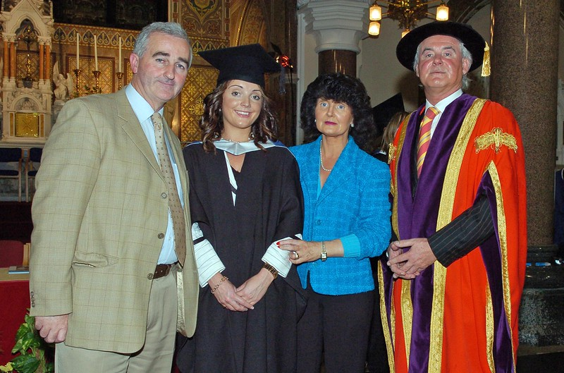 Provision 251006 Pictured with Professor Kieran Byrne (Director of WIT) are L-R Dave, Heather and Helen Walsh from Waterford.  Heather graduated with a BA in Applied Social Studies in Social care. PIC Bernie Keating/Provision