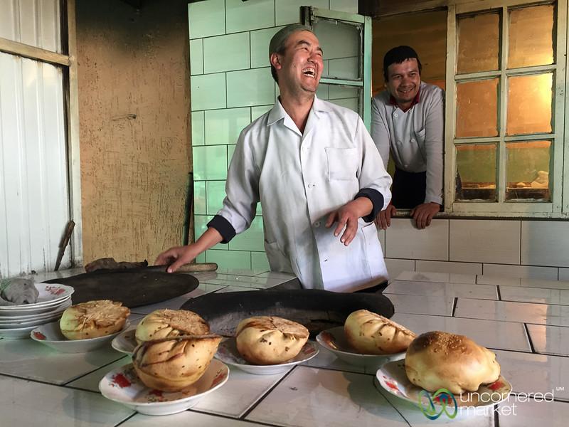 Osh Giant Samsa fresh from Tandoor Oven - Kyrgyzstan