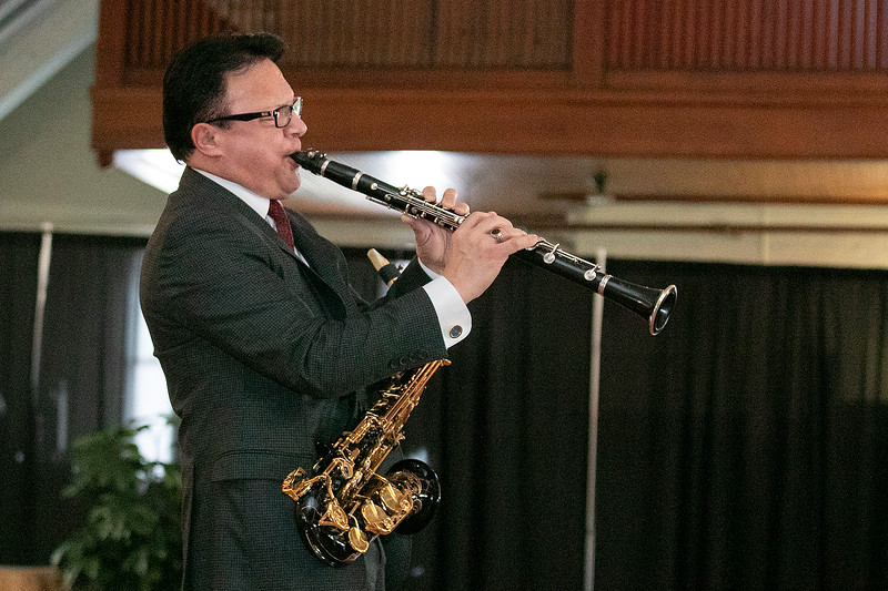 """The talent of jazz virtuoso, Clyde Wheatley from Holden entertained the crowd at the Fitchburg Senior Center's """"Be My Valentine"""" on Wednesday morning for some romance, love and all the classics. He played the clarinet, the alto saxophone and the soprano saxophone for the crowd. There was a lunch from The Finicky Fork sponsored by Fitchburg Senior Center after the entertainment. Here Wheatley plays the alto saxophone and the clarinet for the song """"Mack the Knife"""" by Bobby Darin. SENTINEL & ENTERPRISE/JOHN LOVE"""