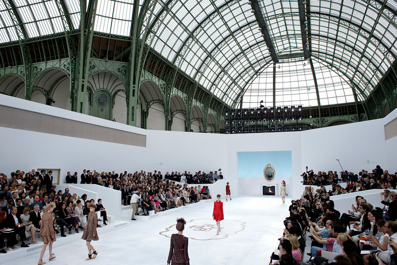 . Models wear creations for Chanel\'s fall-winter 2014-2015 Haute Couture fashion collection presented in Paris, France, Tuesday, July 8, 2014. (AP Photo/Thibault Camus)
