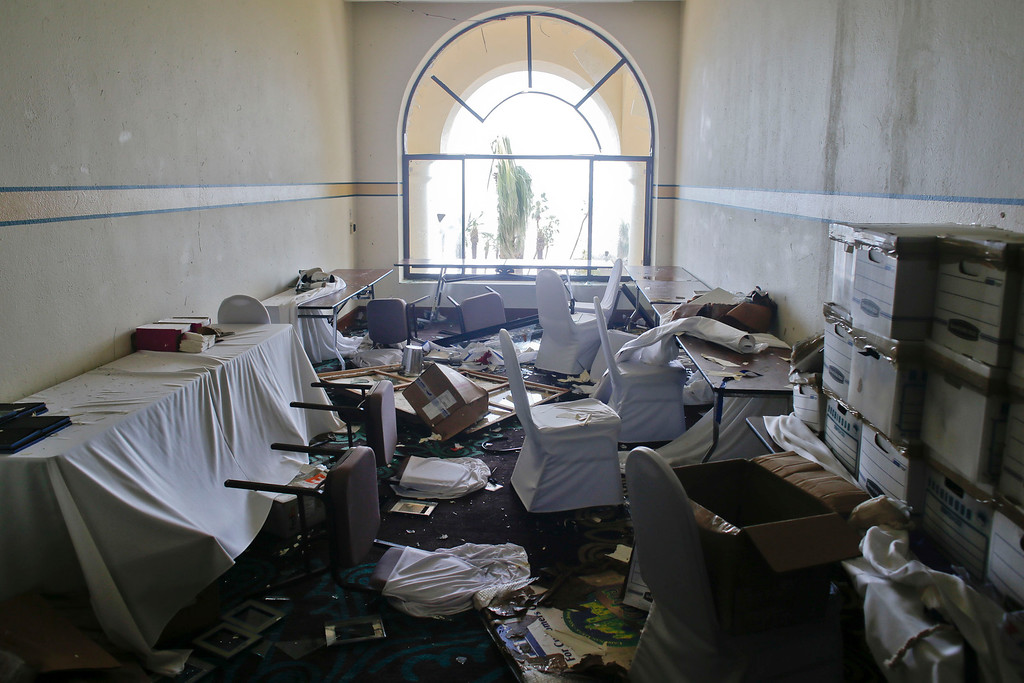 . A room sits partially destroyed at the Hilton hotel after the resort sustained severe damage by Hurricane Odile in Los Cabos, Mexico, Monday, Sept. 15, 2014. (AP Photo/Victor R. Caivano)