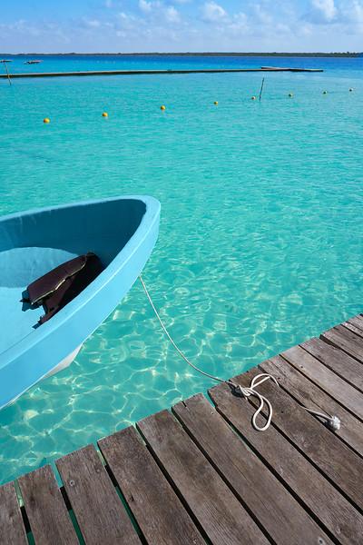 Laguna de Bacalar Lagoon pier in Mayan Mexico at Quintana roo