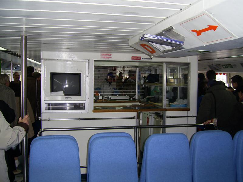 On board CELESTINA : the bar.