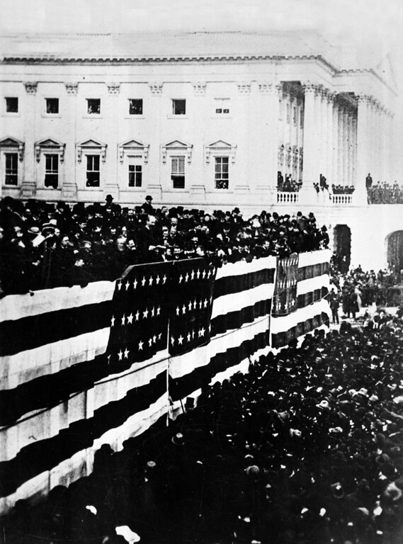 . This general view shows the inauguration of James A. Garfield, the nation\'s 20th president, on the East Portico of the Capitol building in Washington, D.C., March 4, 1881. (AP Photo)