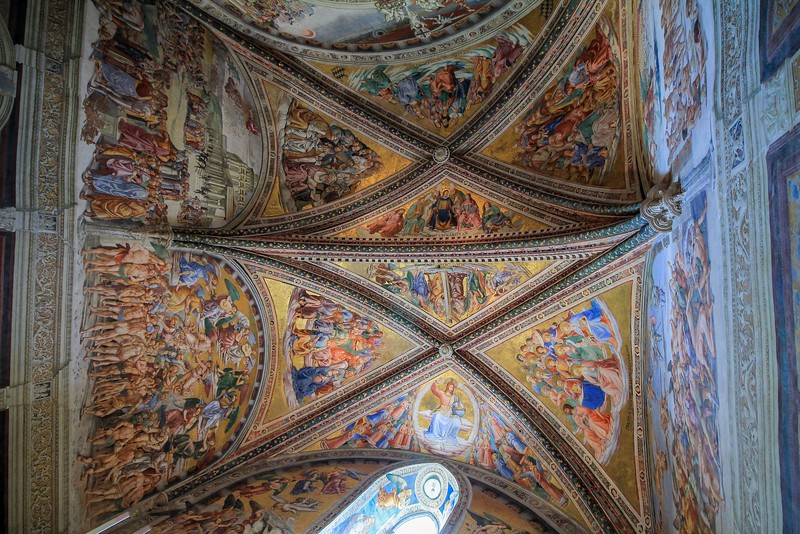 A super wide angle view of the famous Chapel of the Madonna di San Brizio in the Orvieto Cathedral.
