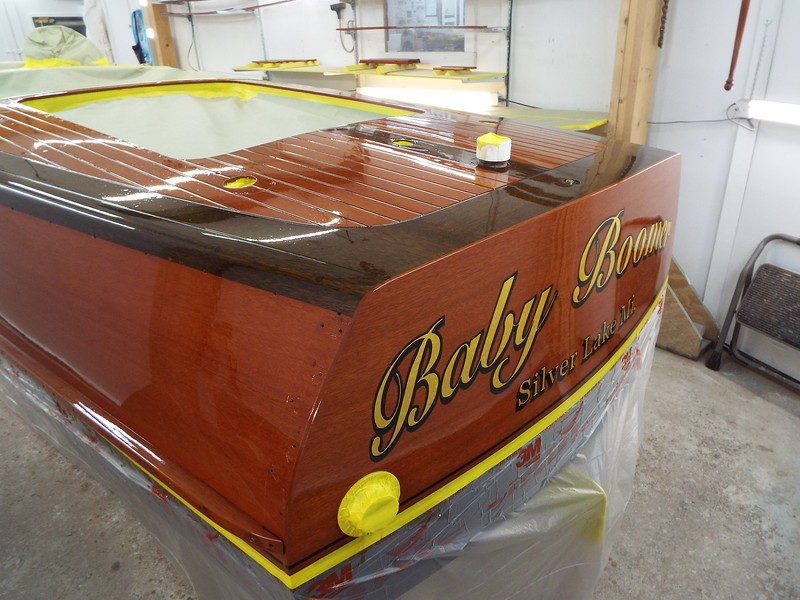 Transom view with varnish applied.
