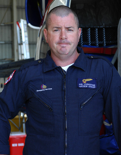 21 APR 2007 Townsville, QLD - EMQ Rescue Officer Phil Livingstone was onboard the first helicopter to drop crew onto the 9.8m catamaran Kaz II - PHOTO: CAMERON LAIRD (Ph: 0418238811)