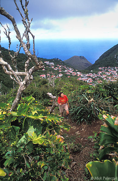 [ANTILLES.SABA 25.472] 'Climbing Maskehorne Hill.'	 A climb to Maskehorne Hill is rewarded with a view of Windwardside and the Caribbean Sea. Photo Mick Palarczyk.