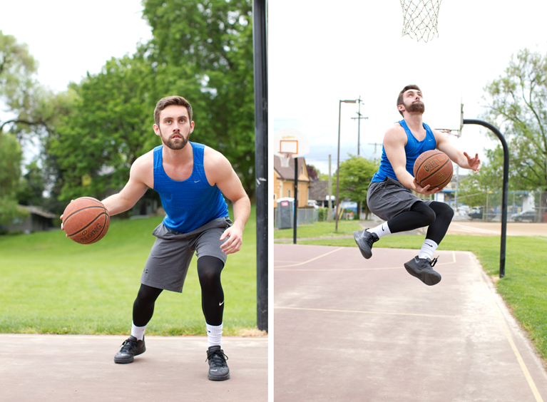 two photos of guy model playing basketball