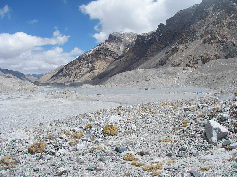 Deserted Base Camp. Down there are only our tents