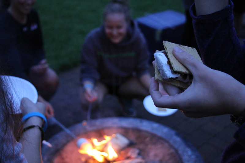 Seniors made smores over the fire.