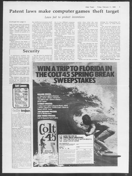 Daily Trojan, Vol. 93, No. 23, February 11, 1983