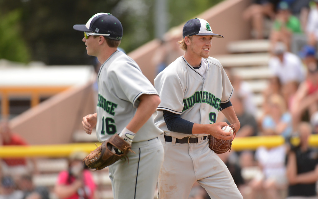 . DENVER, CO. - MAY 25: ThunderRidge HIgh School Rocky Mountain HIgh School during the final round of 5A baseball state championship game at All City Field. Denver, Colorado. May 25, 2013. ThunderRidge won 2-1. (Photo By Hyoung Chang/The Denver Post)