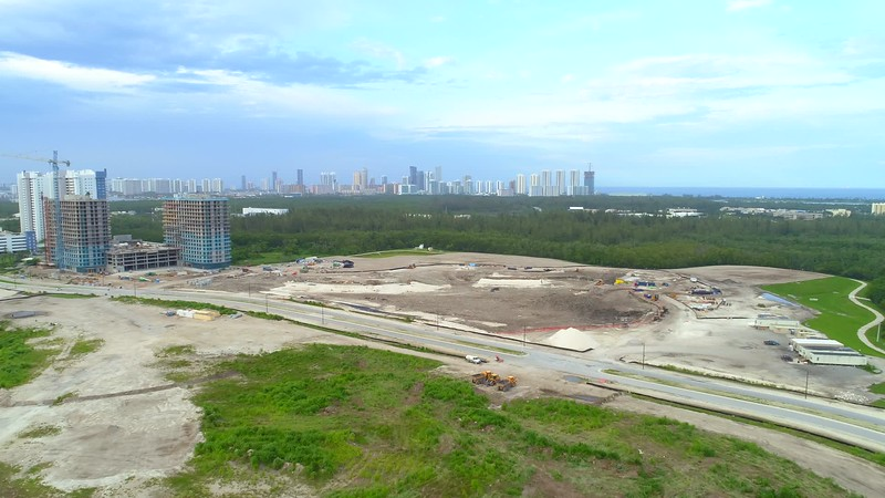 Aerial drone b roll footage of a construction site North Miami Florida
