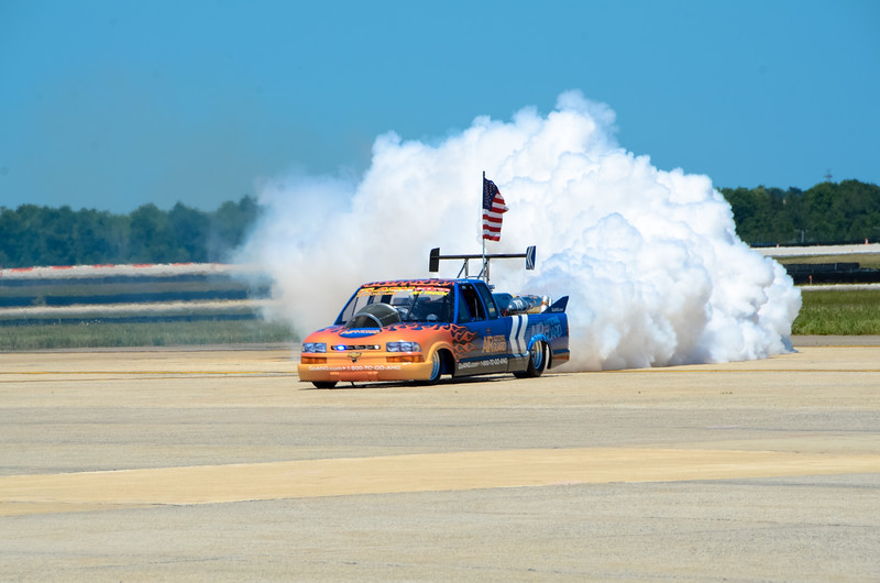 "The Air National Guard's own ""rocket car"" boosted by ... what else... a rocket.   Impressive in its own genre"