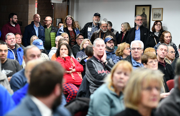 1/9/2020 Mike Orazzi | StaffrResidents pack an information meeting held at the Manross Library about a proposed gated high-end multi-family residential project proposed for the Redstone Hill Road area in the city of Bristol.