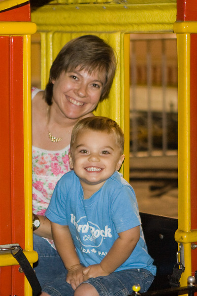 KC rode the caboose with Mom on his second train ride.