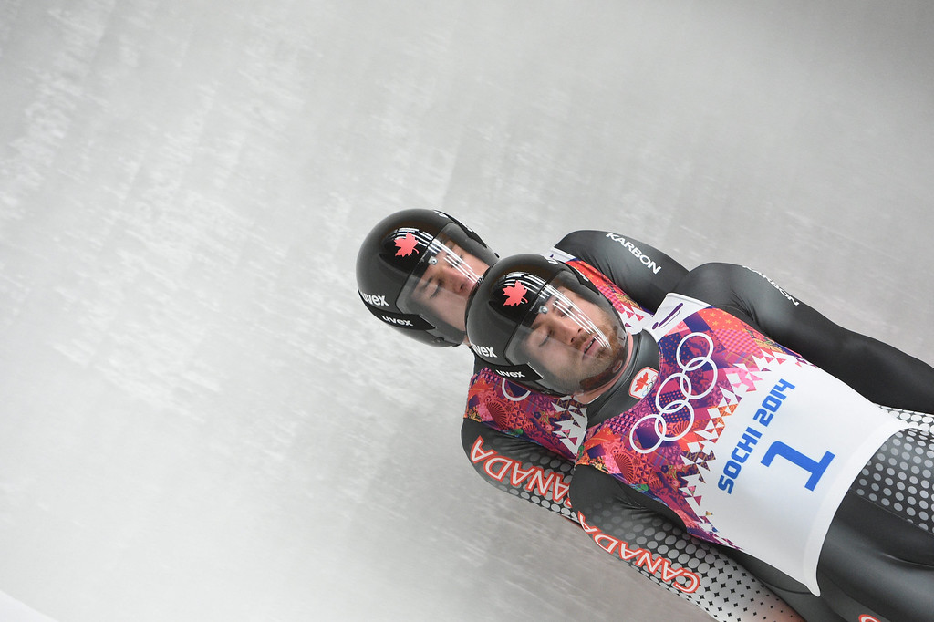 . Tristan Walker and Justin Snith of Canada during the first run of the Men\'s Doubles Luge competition at the Sochi 2014 Olympic Games, Krasnaya Polyana, Russia, on February 12, 2014.  EPA/TOBIAS HASE